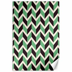 Zigzag Chevron Pattern Green Black Canvas 24  X 36