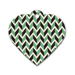 Zigzag Chevron Pattern Green Black Dog Tag Heart (one Side)