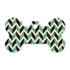 Zigzag Chevron Pattern Green Black Dog Tag Bone (one Side)
