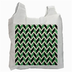 Zigzag Chevron Pattern Green Black Recycle Bag (two Side)