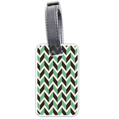 Zigzag Chevron Pattern Green Black Luggage Tags (one Side)