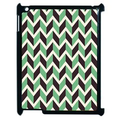 Zigzag Chevron Pattern Green Black Apple Ipad 2 Case (black)