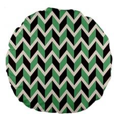 Zigzag Chevron Pattern Green Black Large 18  Premium Round Cushions