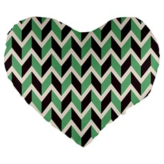 Zigzag Chevron Pattern Green Black Large 19  Premium Heart Shape Cushions