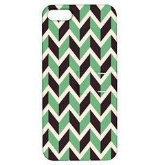 Zigzag Chevron Pattern Green Black Apple Iphone 5 Hardshell Case With Stand
