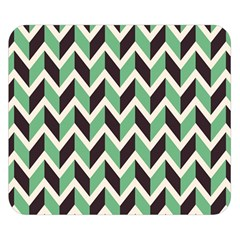 Zigzag Chevron Pattern Green Black Double Sided Flano Blanket (small)