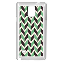 Zigzag Chevron Pattern Green Black Samsung Galaxy Note 4 Case (white)