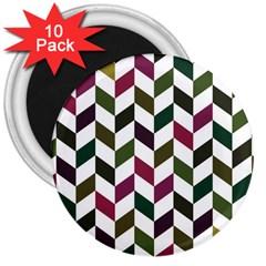 Zigzag Chevron Pattern Green Purple 3  Magnets (10 Pack)