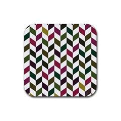 Zigzag Chevron Pattern Green Purple Rubber Coaster (square)