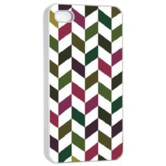 Zigzag Chevron Pattern Green Purple Apple Iphone 4/4s Seamless Case (white)