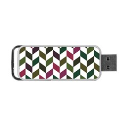 Zigzag Chevron Pattern Green Purple Portable Usb Flash (two Sides)