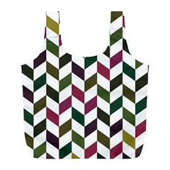 Zigzag Chevron Pattern Green Purple Full Print Recycle Bags (l)