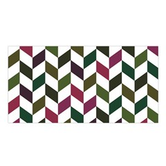 Zigzag Chevron Pattern Green Purple Satin Shawl