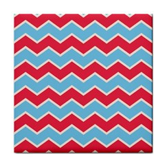 Zigzag Chevron Pattern Blue Red Tile Coasters