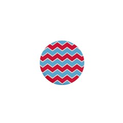 Zigzag Chevron Pattern Blue Red 1  Mini Buttons