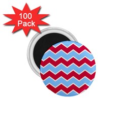 Zigzag Chevron Pattern Blue Red 1 75  Magnets (100 Pack)