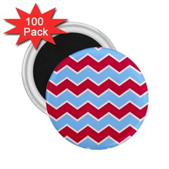 Zigzag Chevron Pattern Blue Red 2 25  Magnets (100 Pack)