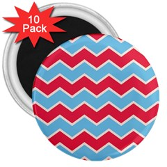 Zigzag Chevron Pattern Blue Red 3  Magnets (10 Pack)