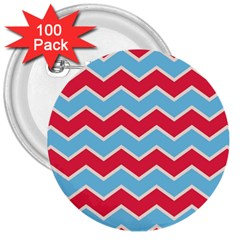 Zigzag Chevron Pattern Blue Red 3  Buttons (100 Pack)