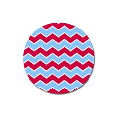 Zigzag Chevron Pattern Blue Red Magnet 3  (round)
