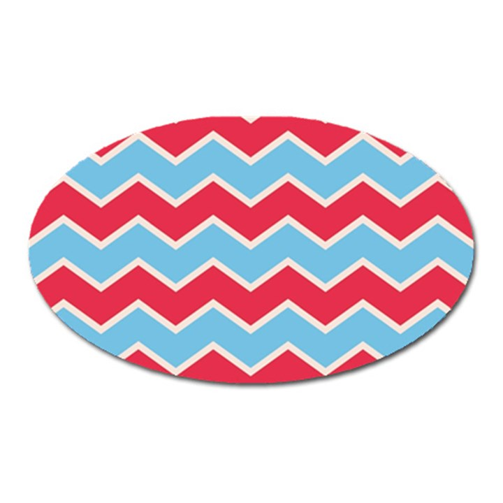 Zigzag Chevron Pattern Blue Red Oval Magnet