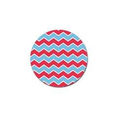 Zigzag Chevron Pattern Blue Red Golf Ball Marker (10 Pack)