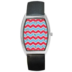 Zigzag Chevron Pattern Blue Red Barrel Style Metal Watch