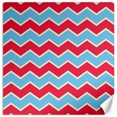 Zigzag Chevron Pattern Blue Red Canvas 20  X 20