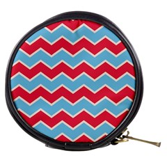Zigzag Chevron Pattern Blue Red Mini Makeup Bags