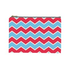 Zigzag Chevron Pattern Blue Red Cosmetic Bag (large)