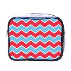 Zigzag Chevron Pattern Blue Red Mini Toiletries Bags