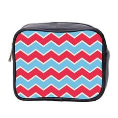 Zigzag Chevron Pattern Blue Red Mini Toiletries Bag 2 Side