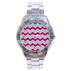 Zigzag Chevron Pattern Blue Red Stainless Steel Analogue Watch