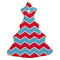Zigzag Chevron Pattern Blue Red Ornament (christmas Tree)