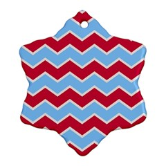 Zigzag Chevron Pattern Blue Red Snowflake Ornament (two Sides)
