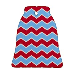 Zigzag Chevron Pattern Blue Red Bell Ornament (two Sides)
