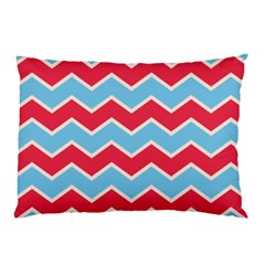 Zigzag Chevron Pattern Blue Red Pillow Case (two Sides)