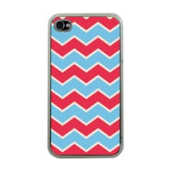 Zigzag Chevron Pattern Blue Red Apple Iphone 4 Case (clear)