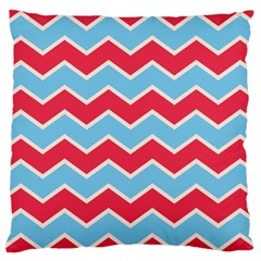 Zigzag Chevron Pattern Blue Red Large Cushion Case (two Sides)