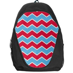 Zigzag Chevron Pattern Blue Red Backpack Bag