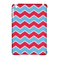 Zigzag Chevron Pattern Blue Red Apple Ipad Mini Hardshell Case (compatible With Smart Cover)