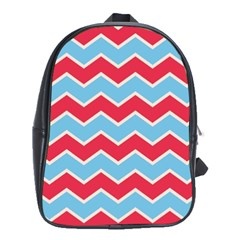 Zigzag Chevron Pattern Blue Red School Bag (xl)