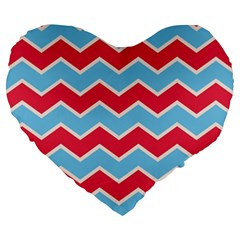 Zigzag Chevron Pattern Blue Red Large 19  Premium Heart Shape Cushions