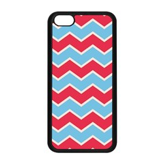 Zigzag Chevron Pattern Blue Red Apple Iphone 5c Seamless Case (black)