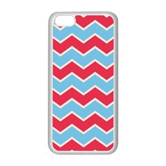 Zigzag Chevron Pattern Blue Red Apple Iphone 5c Seamless Case (white)