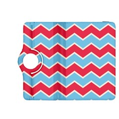 Zigzag Chevron Pattern Blue Red Kindle Fire Hdx 8 9  Flip 360 Case