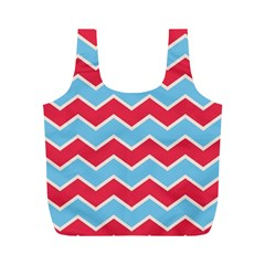 Zigzag Chevron Pattern Blue Red Full Print Recycle Bags (m)