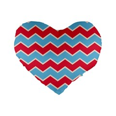 Zigzag Chevron Pattern Blue Red Standard 16  Premium Flano Heart Shape Cushions
