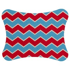 Zigzag Chevron Pattern Blue Red Jigsaw Puzzle Photo Stand (bow)