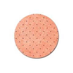 Dot Peach Magnet 3  (round)